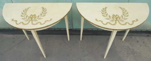Pair Painted and Decorated Georgian Style Console Tables